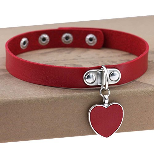 AKOAK Fashion Cool Rock Style Steampunk Punk Goth Heart-Shape Pendant Link PU Leather Collar Choker Necklace(Red)
