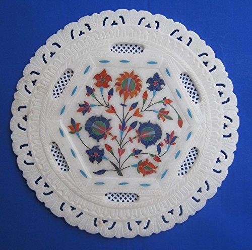 Craftlook - Plato de mármol de alabastro con mosaico floral hecho a mano, decoración para el hogar, regalo de arte de 28 cm