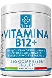 Vitamina B12 Pura 1000µg Cianocobalamina Piulife® ● 365 Compresse Vit B12 Vegan Alto Dosaggio Sintesi Globuli Rossi Contrasto Stanchezza ● Integratore Vitamina B12 supportare il Sistema Immunitario