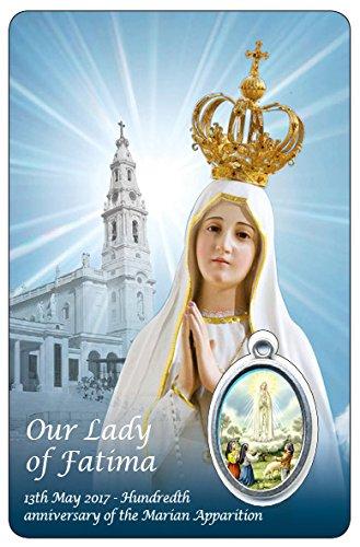 Ferrari & Arrighetti Estampa Virgen de Fátima con oración y Medalla de Resina - Medida 8,5 x 5,5 cm - en inglés (Paquete de 6 Piezas)
