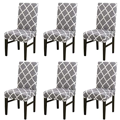 LiveGo Chair Cover, 6 Pack Stretch Dining Chair Covers High Back Chair Protective Cover Slipcover,Elastic Chair Protector Seat Covers for Dining Room Wedding Banquet Party Decoration(Gray+white)