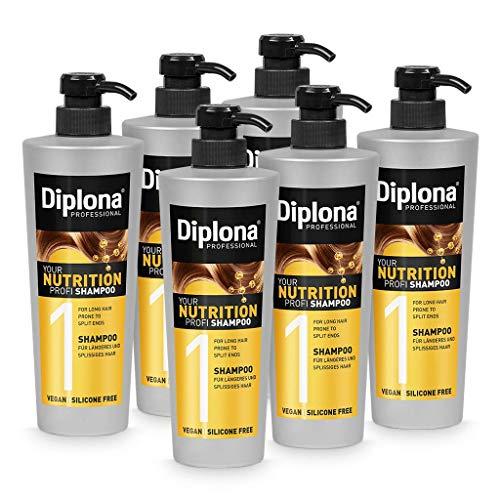 DIPLONA Shampoo für längeres & splissiges Haar - YOUR NUTRITION PROFI Shampoo für Frauen - veganes Haarshampoo ohne Silikone & Parabene - Damen Haarpflege 6x 600 ml