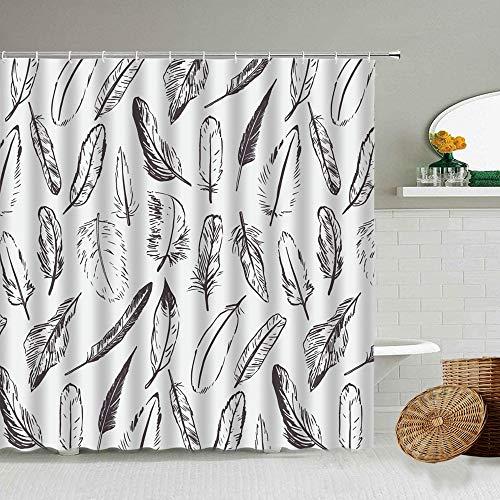 XCBN Paons Motif Plume Rideau de Douche Couleur Art Salle de Bain Baignoire Rideaux imperméables décoration Murale de la Maison A15 150x200 cm