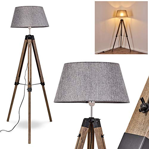 Lámpara de pie Hornepayne madera/tejido gris, 1 x E27 max. 46 vatios, con interruptor de encendido/apagado en el cable, regulable en altura, adecuada para bombillas LED, ideal para salón