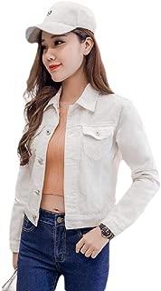 MogogoWomen Cropped Pocket Front Washed Retro Style Denim Jacket Outwear