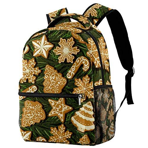 LORVIES Weihnachts-Rucksack mit Lebkuchen-Motiv, Vintage-Stil, Weihnachtsbaum, lässiger Rucksack, Schultertasche für Schule, Studenten, Reisetaschen