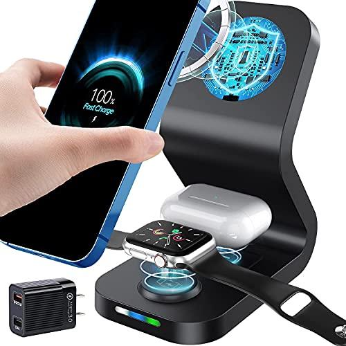 Caricatore Wireless 3 in 1 Caricabatterie Wireless 15W Compatibile con Magsafe Caricabatterie a Induzione Compatibile con Apple Watch 6/5/4/3/2, iPhone 12/12Pro/12 Pro Max/Mini, AirPods Pro/2