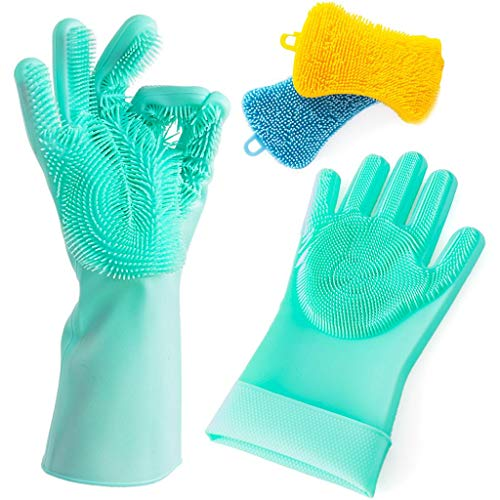 Silicone Gloves Dishwashing Scrubber Sponge - Premium Set 1 Pair Reusable Magic Rubber Scrubbing Gloves and 2 Silicon Sponges Heat Resistant for Cleaning Dishes Home Bathroom Car Household Pet Care