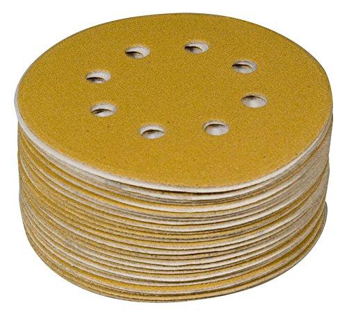 "POWERTEC 44022G-50 Gold 5"" Hook and Loop Sanding Disc   8 Hole   220 Grit – 50 Pack"