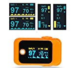 IntiMD OXYO Fingertip Pulse Oximeter, Blood Oxygen Saturation (SpO2), Pulse Rate (PR), Perfusion Index, Portable OLED Digital Display with Lanyard. 1 Unit in Orange (for Sports or Aviation use only)