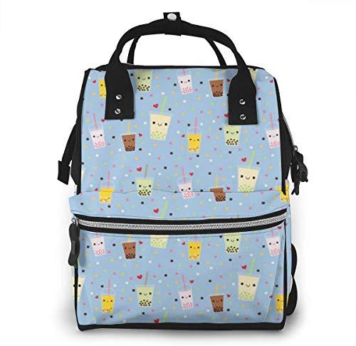 Happy Boba Bubble Tea Large Capacity Multipurpose Mummy Backpack Big Capacity Landscap Light Baby Diaper Bags