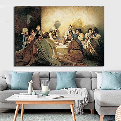 BailongXiao La Pintura al óleo La última Cena del Pintor Imprime Carteles de Historias bíblicas clásicas, Arte Decorativo,Pintura sin Marco,75x112cm