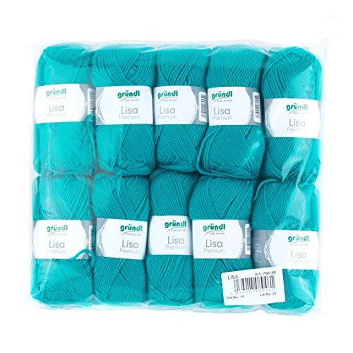 Gründl Lisa Premium Wolle, Polyacryl, petrol, 133 m, Nadelstärke 3,5- 4,5, 10er Pack