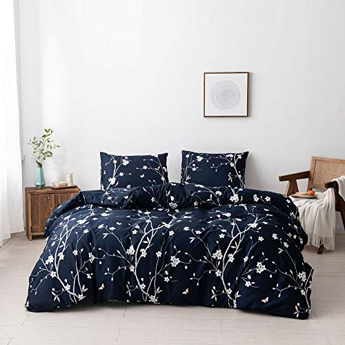 Argstar 3 Pcs King Duvet Covers, Branch and Plum Blossom Pattern Bedding Set, Navy Blue Floral Comforter Cover with Zipper Ties, Ultra Soft Lightweight Microfiber, 1 Duvet Cover and 2 Pillow Covers