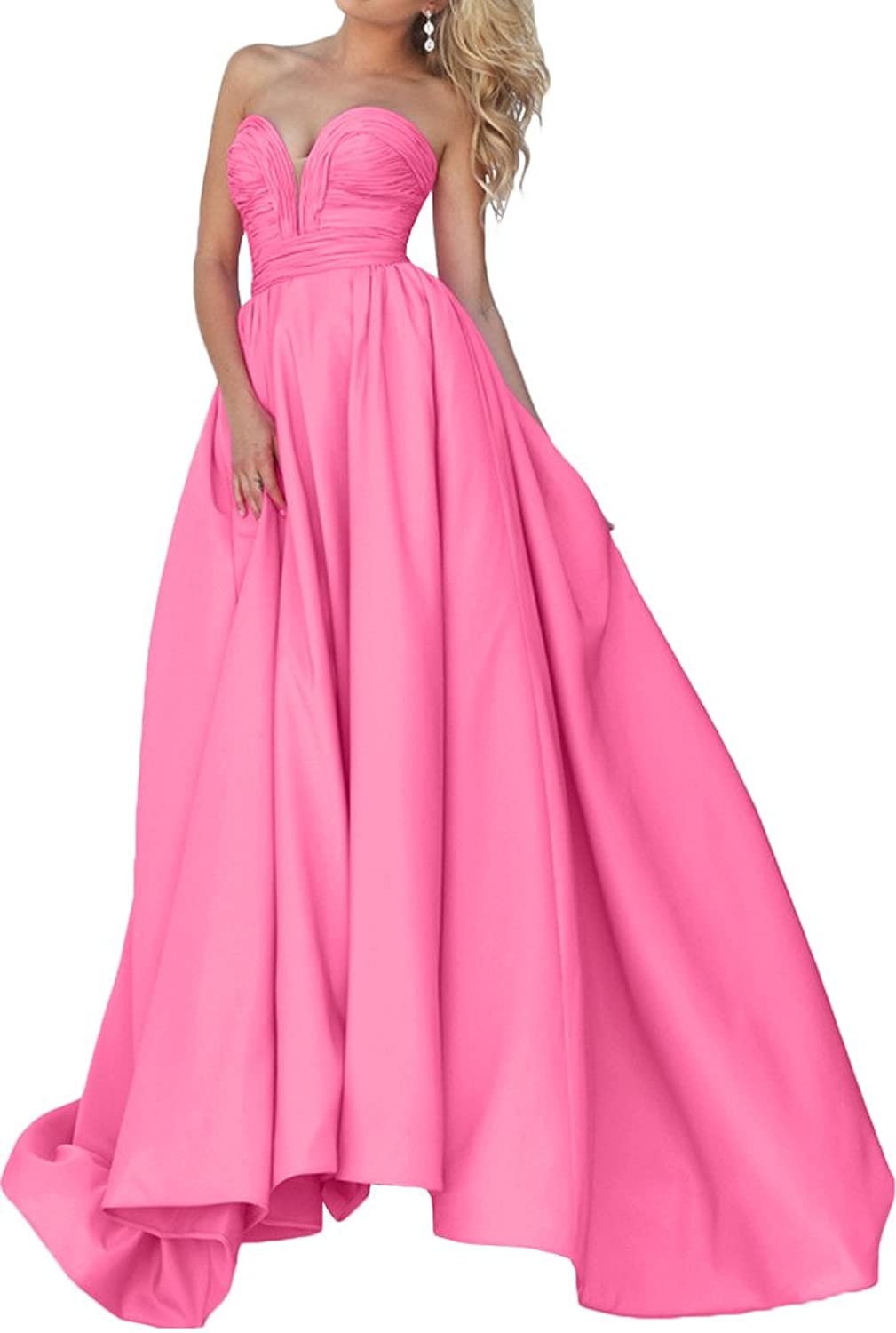 Avril Dress Strapless Sweetheart Ball Gown Satin Homecoming Dress Prom Dress