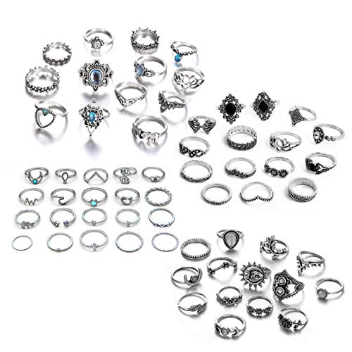 ZZ ZINFANDEL 62Pcs Vintage Knuckle Rings Set Stackable Finger Rings Midi Rings for Women,Joint Nail Band Cuff Toe Statement Finger Rings for Teens Girls