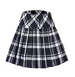 Women's Tartan Elastic Pleated Plaid Skirts Schoolgirls Mini A-line Skirt Cosplay Costumes (S, 1 White-Black)