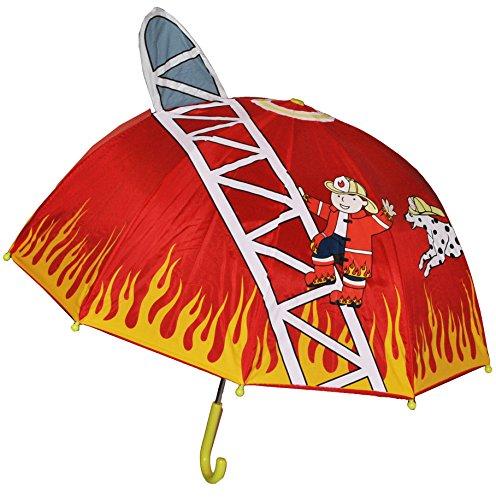 alles-meine.de GmbH 3-D Feuerwehr Schirm Kinderschirm Kinder Stockschirm Regenschirm Auto