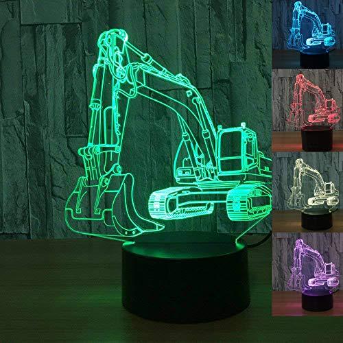 3D Auto LKW Bagger Traktor Nachtlicht Tisch Schreibtisch Optische Illusion Lampen 7 Farbwechsel Lichter LED Tischlampe Weihnachten Home Love Geburtstag Kinder Deko Spielzeug Geschenk