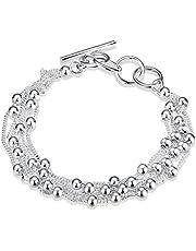 LDUDU® Pulsera de mujeres chapada de plata 925 con bolas Brazalete de mujer ajustable 17-20cm regalo Cumpleaños Navidad San Valentin Boda