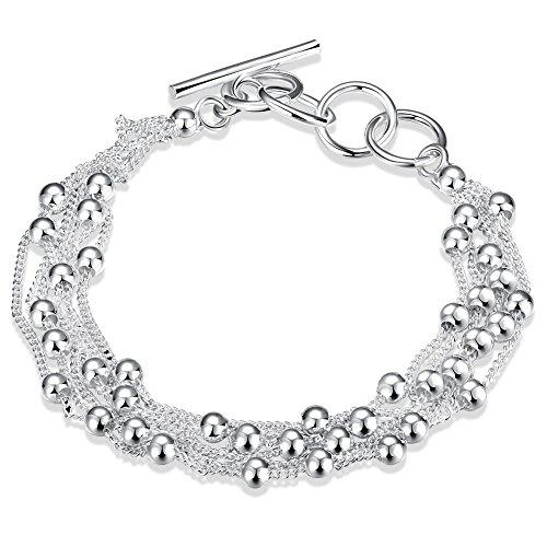 LDUDU Braccialetto femminile 925 Argento con palle braccialetto per donne regolabile 17-20cm ideale regalo per compleanno, Natale, matrimonio, San valentino.