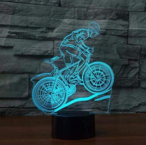 Lámpara de escritorio para bicicleta de montaña, 7 cambios de color, lámpara de mesa LED, lámpara 3D, luz nocturna