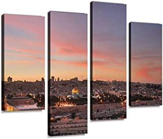 Panoramic View of Jerusalem. Israel Canvas Wall Art Hanging Paintings Modern Artwork Abstract Picture Prints Home Decoration Gift Unique Designed Framed 4 Panel