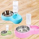 Vommpe Distributeur Eau Croquettes pour Chien/Chat Automatique, Double Gamelle en Acier Inoxydable Distributeur d'eau pour Animaux de Compagnie (Rose)