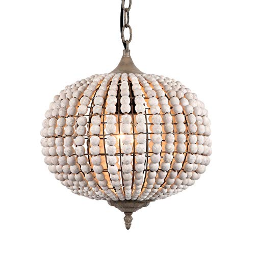 Newrays Wood Bead Chandelier Pendant Three Lights Gray White Finishing Retro Vintage Antique Rustic Kitchen Ceiling Lamp Light Fixtures