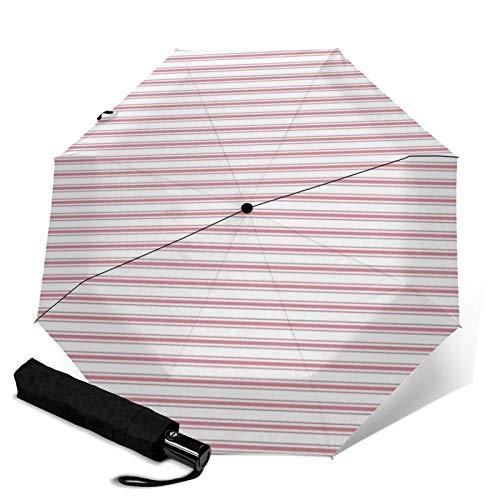 Ombrello antivento di alta qualità, rosso materasso, strisce di ticchettio, da viaggio, pieghevole automatico a tre pieghe, ombrello compatto leggero da sole e da pioggia