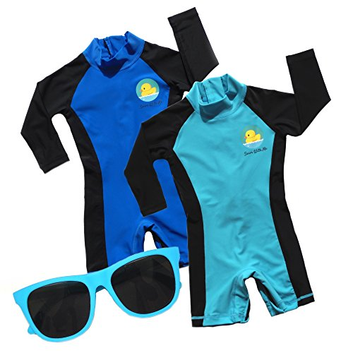 Swim with Me- SPF 50+ Sun Protection Swimsuit for Infant, Baby, Toddler 0-24 Months. (12-18 Months, Blue/Light Blue (Value 2 Pack))