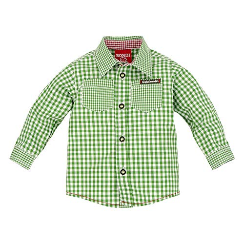 BONDI BONDI Baby Jungen Langarm Trachtenhemd grün/weiß Artnr. 91065 Größe 62