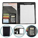 Dproptel Cartellina porta documenti, formato A4, in pelle ecologica, con calcolatrice a 12...
