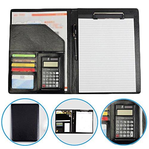 Dproptel A4 Schreibmappe Schreibblock mit 12-Bit Taschenrechner Business Konferenzmappe Portfolio Dokumentenmappe mit PU Leder Dokumenten Organizer