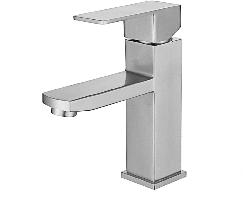 WFHhsxfh 304 Edelstahl-Becken-Hahn-Badezimmer-Bassin-heies und kaltes gebürstetes Hahn-Badezimmerzubehr Tippe nach Hause