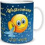Tasse Smiley mit Spruch lustig Sternzeichen Wassermann Geburtstagstasse Geschenk für Frauen Männer Kollegen Geburtstag