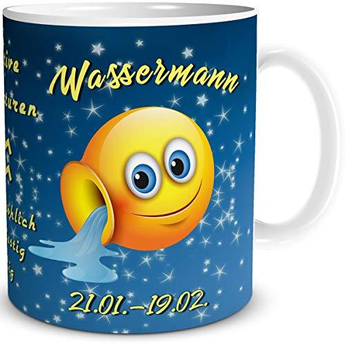 Tasse Smiley mit Spruch lustig Sternzeichen Wassermann Geburtstagstasse Geschenk für Frauen Männer Arbeit Büro Kollegen Geburtstag