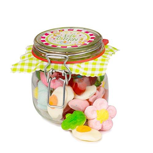 Kleine Osterfreude, leckerer Fruchtgummi & Schaumzucker Süßigkeiten-Oster-Mix in einem nostalgischen Bügelglas, 310 Gramm, süßes Ostergeschenk