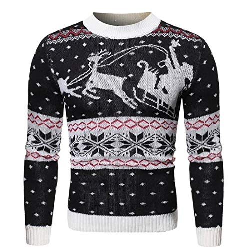 CRYYU Men Knitted Long Sleeve Christmas Basic Fawn Print Pullover Sweater Black S