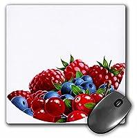 3drose LLC 8x 8x 0.25インチ赤と青のBerriesマウスパッド(MP 29021_ 1)
