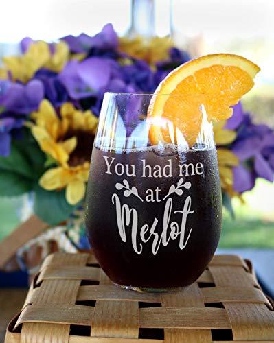 Je had me bij Merlot Wijnglazen Grappige Wijn Glas Grappig Gift voor Paar Wijn Snob Wijnglas Medewerker Gift