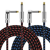 Guitar Instrument Cable 10 Foot 1/4 inch Straight to Right Angle Noise Reduction Audio Cord 6.35 mm for Electric Guitar Bass Keyboard Drum Speaker Microphone 2 Pack