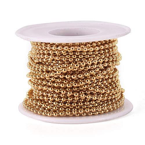 Cheriswelry Kugelkette 2,5 mm Edelstahl Jalousie Perlen Zugkette Verlängerung mit Spule für Schmuck Halskette Armband