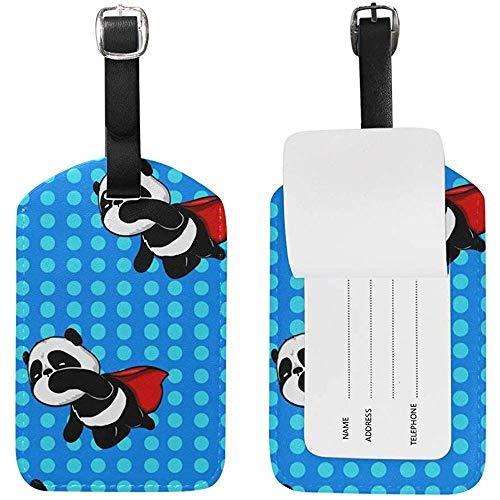 Etiquetas de Equipaje con Estampado Azul Super Hero Panda Etiqueta de Bolsa de identificación de Viaje para Maleta 2 Piezas