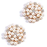 15 PCS Rhinestone Buttons Embellishments Buttons Flatback Pearl Crystal Rhinestone Flower Button Round Crystal White for Jewelry Making Wedding Party Home Decoration Hair Accessories and DIY Craft