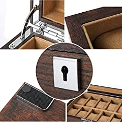 NHLBD Watch storage box Old Elm Pure Solid Wood Skylight Watch Box Storage Box High-end Solid Wood Wooden Display Box With Lock fashion (Color : C) #3