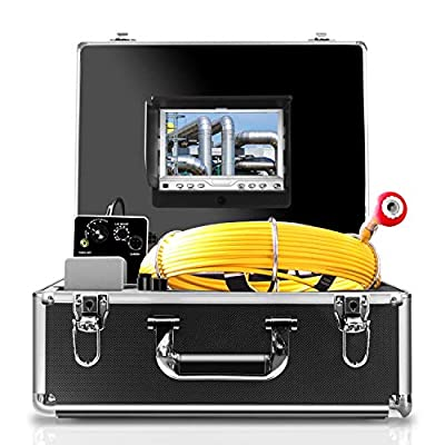 Pipe Inspection Camera,50M/165ft Sewer Camera Pipeline Drain Industrial Endoscope Waterproof IP68 Snake Video System with 7 Inch LCD Monitor 1000TVL Sony CCD DVR Recorder Pipe Cam (7D1-PC50M-With DVR)