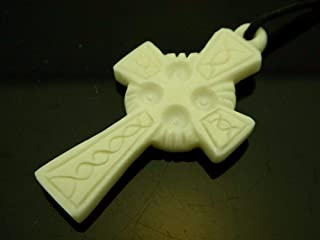 Jewelry Accessories Celtic Cross European Style Woven Design Hand Carved Water Buffalo Bone Pendant 41mmx21mm