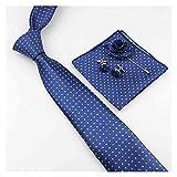 YSJJOSX Corbata para Hombre Hombres 7 cm Ancho Poliéster Set Necktie Pocket Square Gemelos Pechuza Classic Party Fashion Dot Tejido (Color : 24)