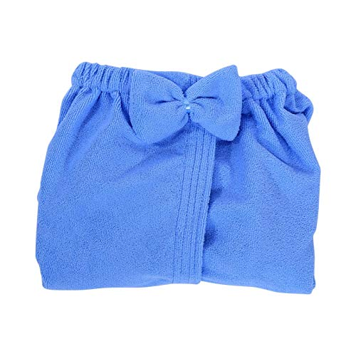 Shoplice Toalla de baño Envolvente - 3 Colores Tipo Bowknot Ducha de Microfibra SPA Toalla de baño Corporal con Bolsillo para Mujer(Azul)